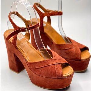 {Zara} Boho Suede Platform Sandals/ Heels